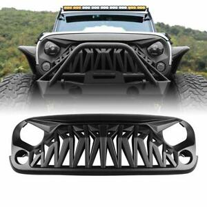 For 2007 2018 Jeep Wrangler Jk Jku Shark Grille Matt Black Abs Unlimited Rubicon