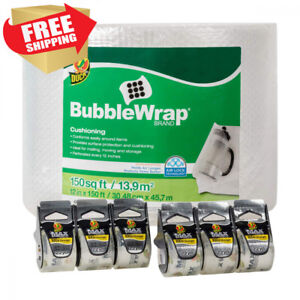 Duck Brand 150 foot Bubble Wrap With Max Strength Packing Tape 6 pack Bundle