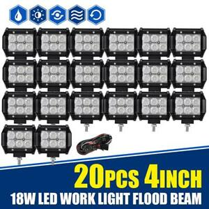 20pcs 4 18w Cree Led Work Light Bar Flood Atv Off Road Fog Driving For Jeep Suv