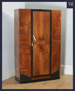 Antique English Art Deco Figured Walnut Ebony Wardrobe Armoire Circa 1930