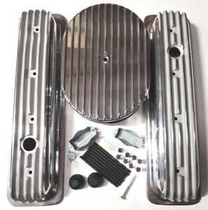 Sb Chevy Polished Aluminum Finned Short Center Bolt Engine Dress Up Kit 1987 95