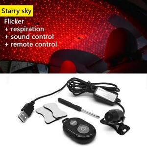 Usb Red Led Projector Lights Sound Remote Control Car Interior Atmosphere Lamp