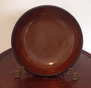 Antique 19th Cent Redware Dish Shallow Bowl 7 1 4 W X 1 3 4 T Primitive Country