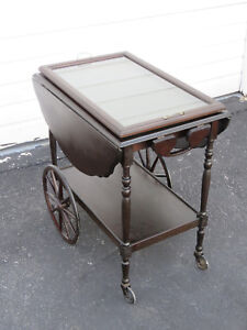 Drop Leaf Serving Bar Tea Cart Wagon Buffet Table With A Glass Tray 9272