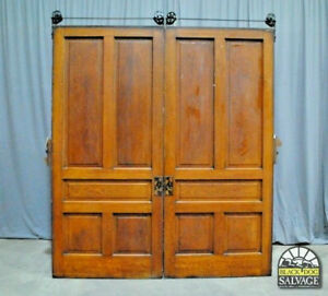 1905 Oak Pocket Door Set 5 Raised Panel Pocket Door Original Eastlake Hardware