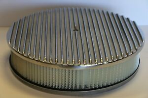 Finned 14 X 3 Round Polished Aluminum Air Cleaner Filter Chevy Ford Sbc Bbc