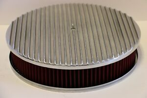 Finned 14 X 3 Round Polished Aluminum Red Washable Air Cleaner Chevy Sbc Bbc