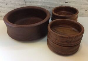 Danish Modern Teak Wood Selandia Designs Vintage Salad Bowls Set Dansk Era