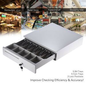 Electronic Cash Drawer Box Case Storage 5 Bill 5 Coin Trays Check Key lock F9b8