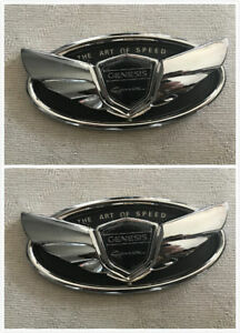 2x Chrome For Hyundai The Art Of Speed 2010 Genesis Coupe Wing Emblem Badge
