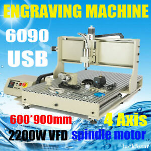 Usb 4 Axis Cnc 6090 Engraver Router Engraving Metal Drilling Machine 2200w Vfd