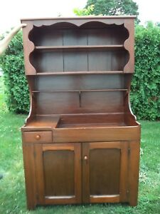 Vintage Antique Dry Sink Hutch Top Restored Wide Board Country Kitchen Farm
