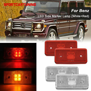 4x Amber Red Led Side Marker Light Lamps For 02 14 Benz W463 G500 G550 G55 G63