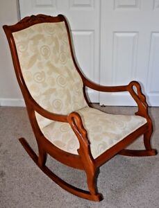 Vintage Goose Neck Rocking Chair Feather Fabric