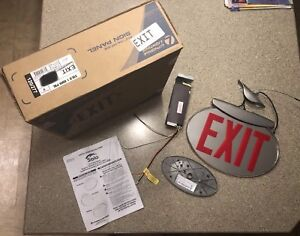 Solo Oval Exit Sign Lithonia Lighting Red Single Sided Plus Rough in Box