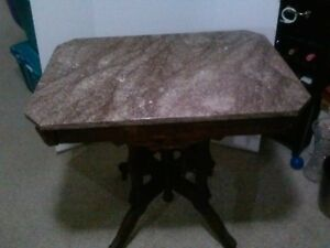 Antique Victorian Walnut Marble Top Table Very Good Condition