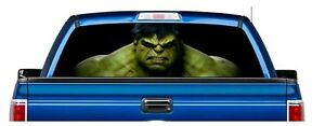 Perforated Hulk Avengers Usa Made Pick up Truck Back Window Graphic Decal Vinyl