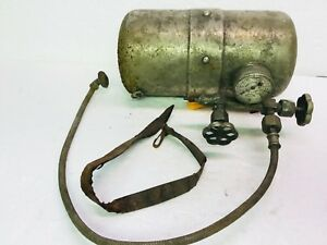 Antique Portable Compressed Air Tank Car Acessory Nickel Plated Vinton Co Gauge