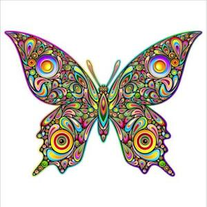 Psychedelic Butterfly Decal Sticker 3m Usa Made Truck Helmet Vehicle Window Car