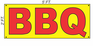 Giant Bbq Banner Sign 2x5 Yellow Red Bright High Visibility