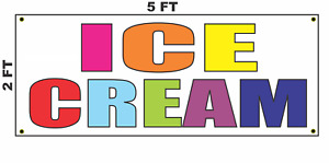 Ice Cream Multi colored Banner Sign 2x5 For Cart Truck Or Convenience Store