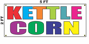 Kettle Corn Multi colored Banner Sign 2x5 For Popcorn Stand
