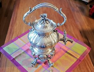 Christofle Tea Water Kettle And Stand 1854 57 Silver Plate Floral