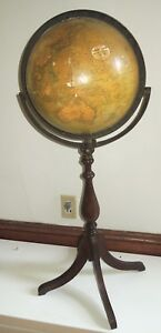 Antique Vintage 12 Greenlee Globe Atlas On Floor Stand As Is 36 Tall