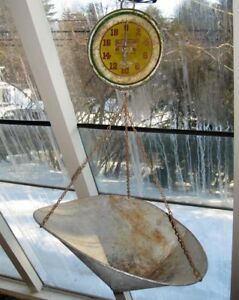 Vintage Chas Forschner 20 Lb Iron General Store Hanging Scale Scoop Shaped Pan