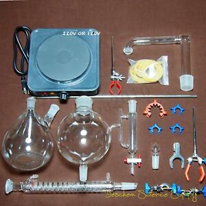 Essential Oil Steam Distillation Kit Lab Apparatus W Hot Stove Graham Us