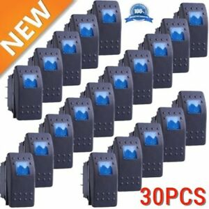 30x Waterproof Marine Boat Car Rocker Switch 12v Spst On off 4pin 4p Led Blue Kj