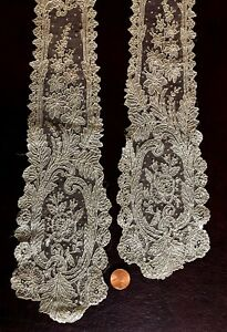 19th C Handmade Brussels Point De Gaze Needle Lace Lappets Collect Costume