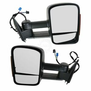 Side View Mirrors Power Heated Signal Towing Telescoping Pair Set For Chevy Gmc