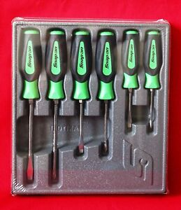 Snap On Tools Screwdriver Set Green Soft Grip Combination 6 Pc Set Brand New