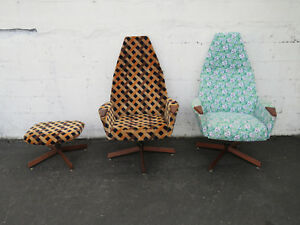 Mid Century Adrian Pearsall Pair Of Swivel Side Chairs With One Ottoman 9296