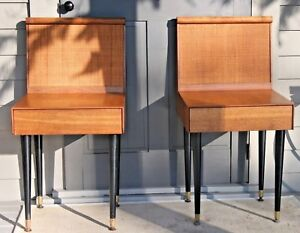 Cane Teak Wood Mid Century Modern 2 Pair End Table Nightstands Brown Saltman