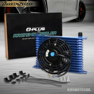 Universal Engine 15 Row 10an Transmission Oil Cooler 7 Electric Black Fan Kit