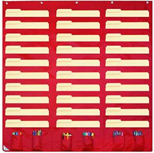 30 Pocket Storage Pocket Chart And Hanging Wall File Organizer With 6 Accessory