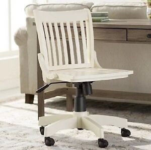 Swivel Office Desk Bankers Chair Rolling Adjustable Solid Wood Antique White