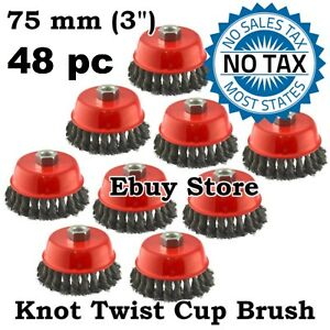 48 Wire Cup Brush Wheel 3 75mm For 4 1 2 115mm Angle Grinder Twist Knot