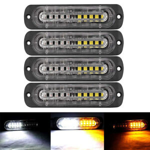 4pcs Amber White 10 Led Strobe Light Bar Emergency Beacon Warning Hazard Flash