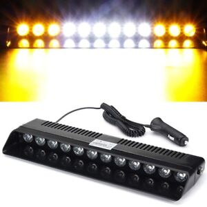 12led Amber white amber Emergency Strobe Dashboard Windshield Light Hazard Warn