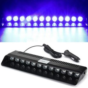 12led Blue Blue Emergency Strobe Dashboard Windshield Light Lamp Hazard Warning