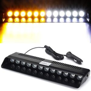 12led Amber White Emergency Strobe Dashboard Windshield Light Hazard Warning