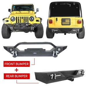 Hooke Road Front Bumper Rear Bumper W Led Light For Jeep Wrangler Tj 1997 2006