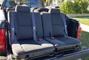 2007 2014 Factory 3rd Row Seats Black Ebony Cloth Tahoe Suburban Yukon Escalade