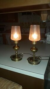 Set Of 2 Vintage Hurricane Victorian Candlestick Style Brass Accent Lamps