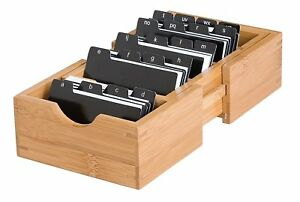 Expandable Business Card Holder Bamboo Organizer Storage Desk Table New