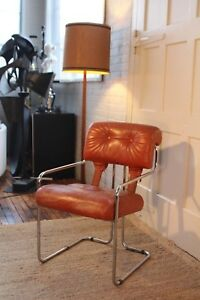 Guido Faleschini Italian Leather Tucroma Chair By Mariani For Pace