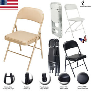 Foldable Lmitation Leather Chair Portable Commercialine Vinyl Padded Folding New
